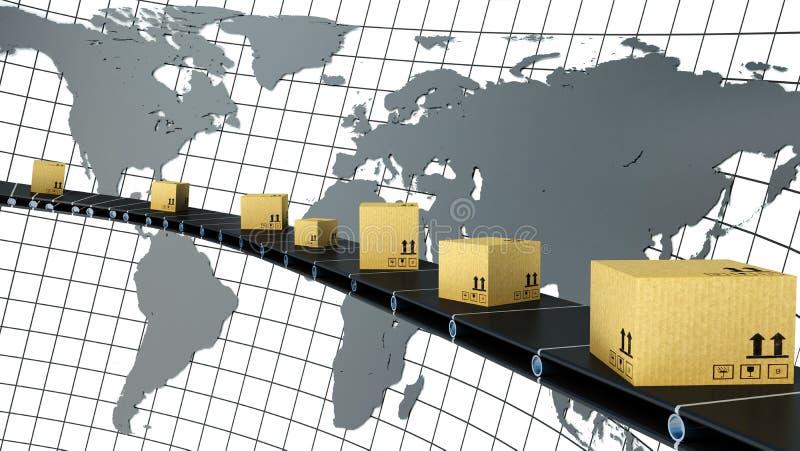 De kartondozen worden geleverd over de hele wereld op de transportband vector illustratie