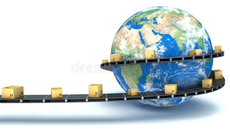 De kartondozen worden geleverd over de hele wereld op de transportband royalty-vrije illustratie
