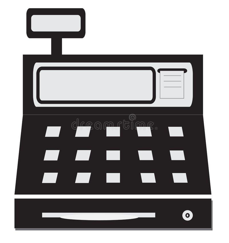 De kassa met een digitale vertonings vectorillustratie, Contant geldmachine Kasregisterpictogram op witte achtergrond Vlakke stij stock illustratie
