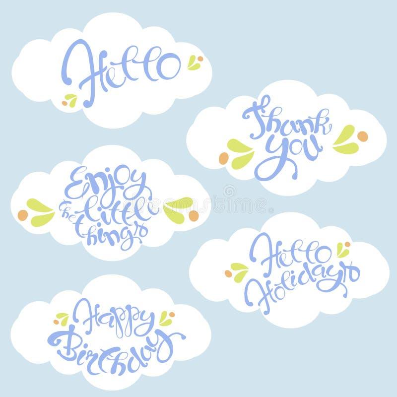 De kasseisteen van het van letters voorzien van Hello, Gelukkige vakantie, Gelukkige verjaardag, dankt u, geniet van de kleine bl royalty-vrije illustratie