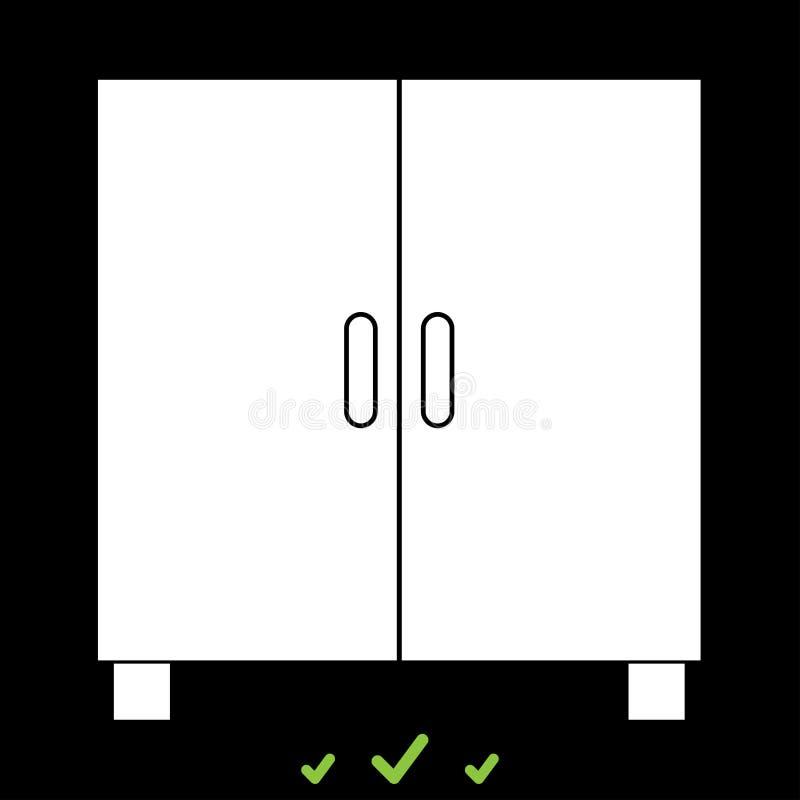 De kast of het kabinet het zijn wit pictogram stock illustratie
