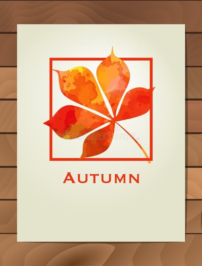 De kastanjeblad van de de herfstwaterverf in een vierkant kader Achtergrond met hand getrokken de herfstbladeren Schets, ontwerpe vector illustratie