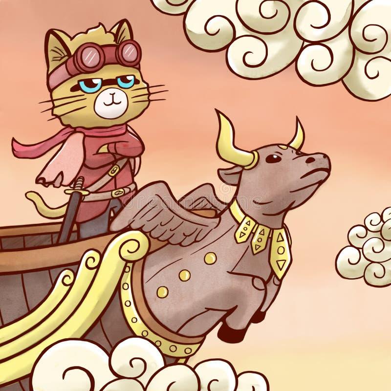 De kat die van de hemelpiraat op vliegend schip varen stock illustratie