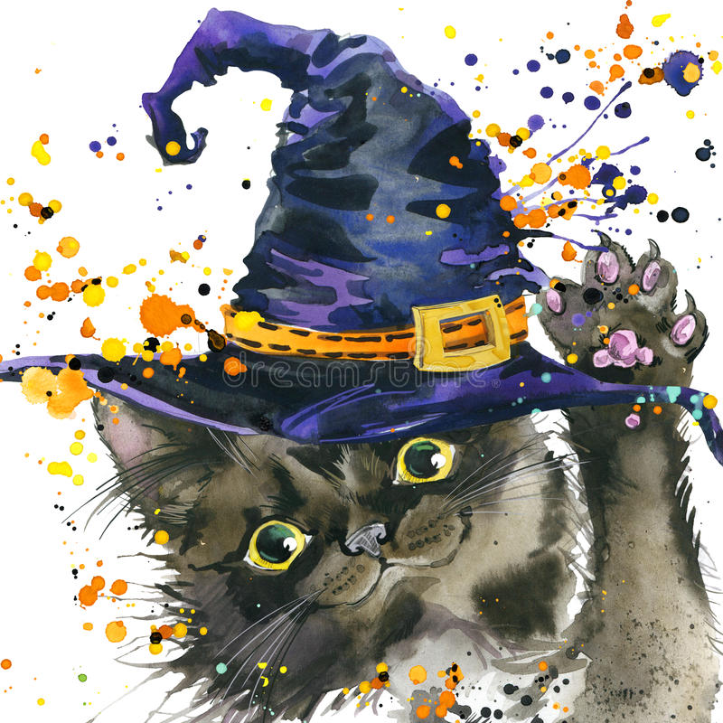 De kat en de heksenhoed van Halloween de achtergrond van de waterverfillustratie royalty-vrije illustratie