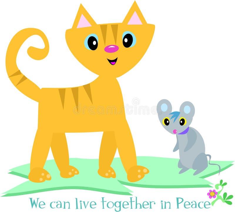 De kat en de Muis kunnen in Vrede leven royalty-vrije illustratie