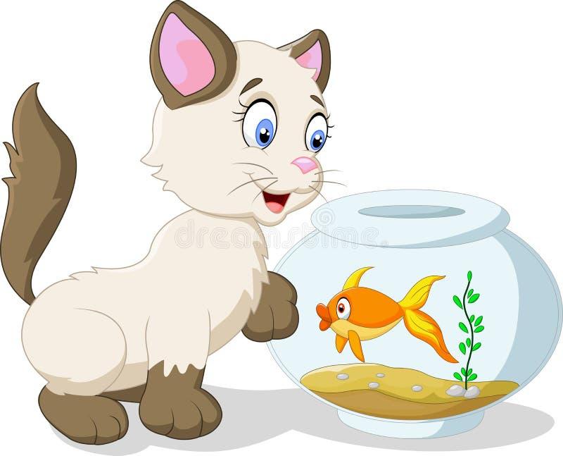 De kat en de vissen van het beeldverhaal royalty-vrije illustratie