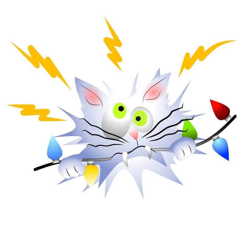 De kat Geëlektrokuteerde Lichten van Kerstmis royalty-vrije illustratie
