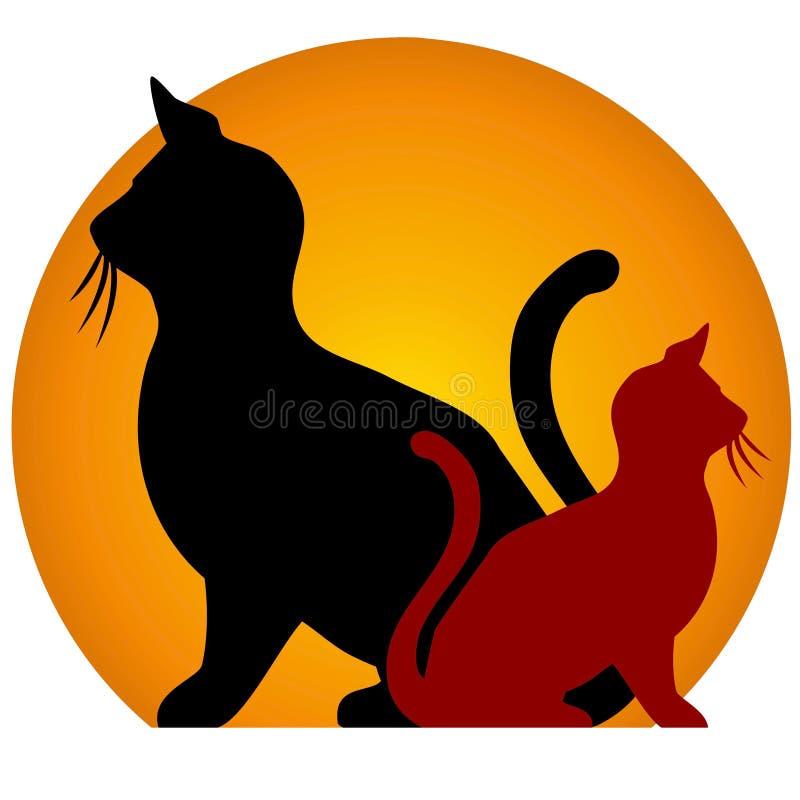 De Kat van de zitting silhouetteert Zon royalty-vrije illustratie