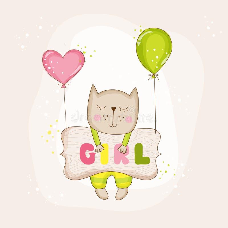 De Kat van het babymeisje met Ballons - Babydouche of Aankomstkaart royalty-vrije illustratie