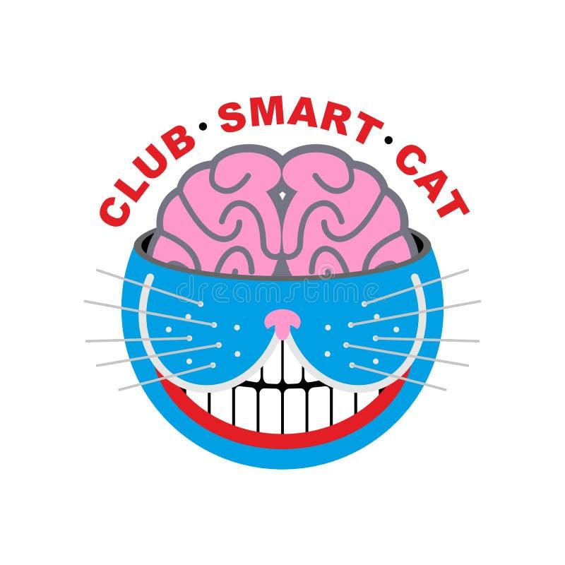 De Kat van het embleem Club slimme Kat Dier en hersenen Emlema voor huisdierenminnaar stock illustratie