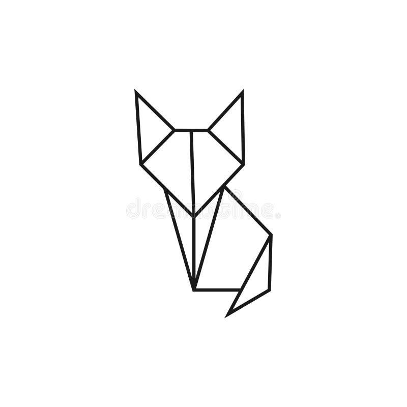 De kat van de origami Geometrische lijnvorm voor kunst van gevouwen document Embleemmalplaatje Vector stock illustratie