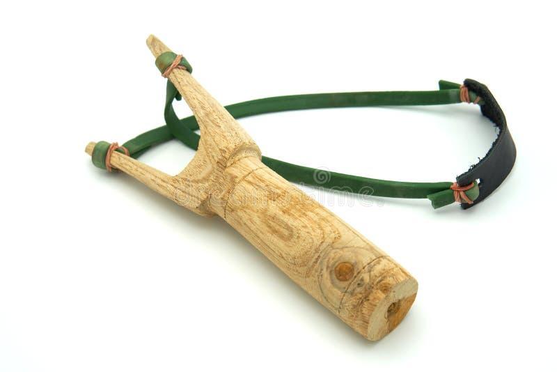 De katapult y-Slinger van hout voorgenomen voor vurenstenen die wordt gemaakt of royalty-vrije stock fotografie