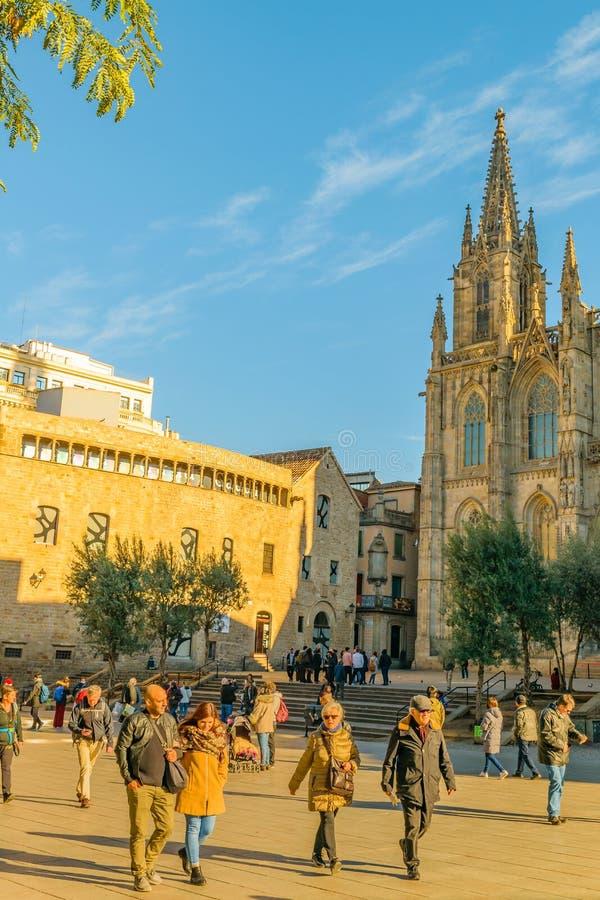 De Kathedraal Buiten, Gotisch District van Barcelona, Spanje royalty-vrije stock afbeeldingen