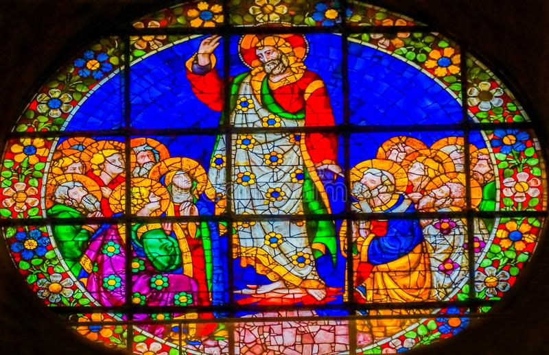 De Kathedraal Florence I van Jesus Christ Worshipers Stained Glass Duomo royalty-vrije stock foto