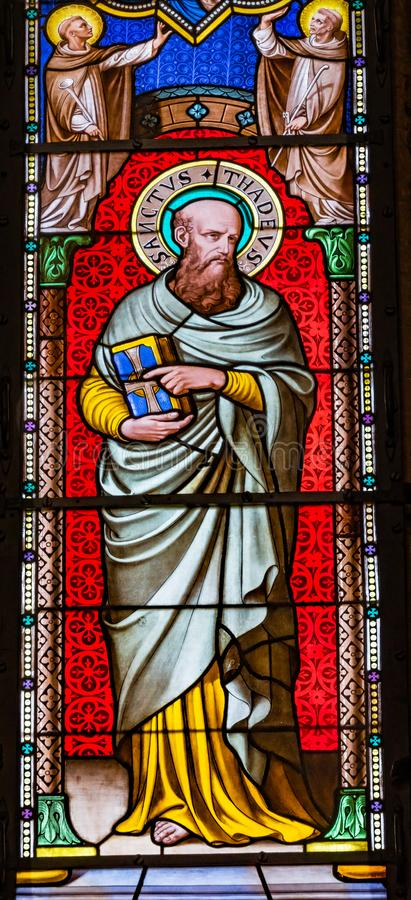 De Kathedraal Pi van heilige Thadeus Jude Apostle Stained Glass Baptistery stock afbeeldingen