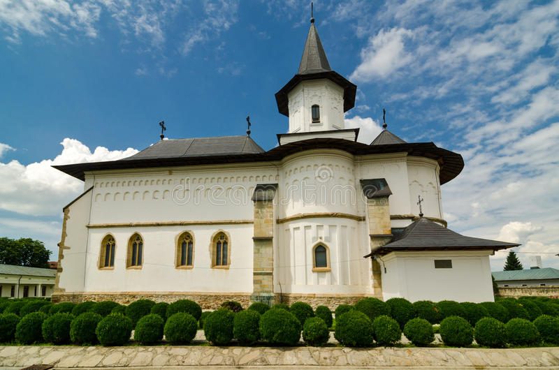 De kathedraal in Roman, Roemenië royalty-vrije stock foto's