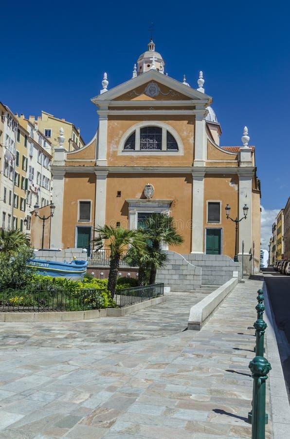 De Kathedraal van Ajaccio in Corsica in de zomer royalty-vrije stock foto's