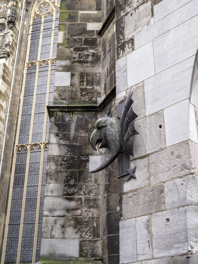 De Kathedraal van Aken, Duitsland, detail, buiten gedeeltelijke mening stock afbeeldingen