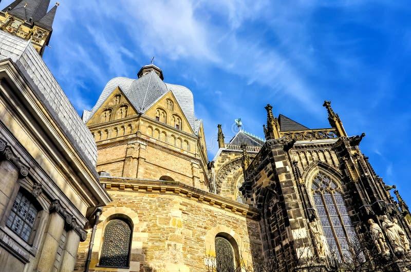 De Kathedraal van Aken, ook de Hoge Kathedraal van Aken, Duitsland stock afbeeldingen
