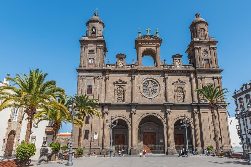 De Kathedraal van Ana van Heilige die in het oude district Vegueta in Las Palmas de Gran Canaria wordt gesitueerd, Spanje royalty-vrije stock foto