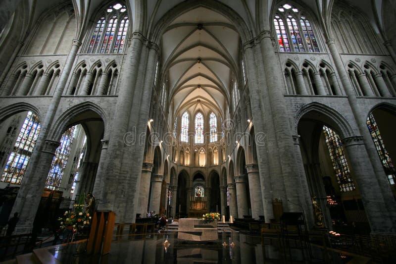 De kathedraal van Brussel stock afbeeldingen