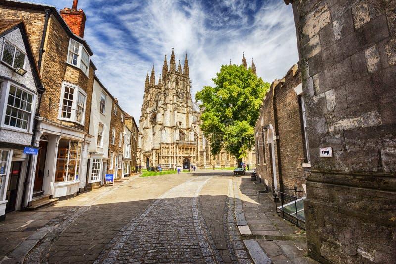 De Kathedraal van Canterbury in Canterbury, Kent, het UK stock afbeeldingen