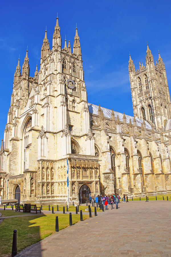 De Kathedraal van Canterbury in Canterbury in Kent van Engeland stock afbeeldingen
