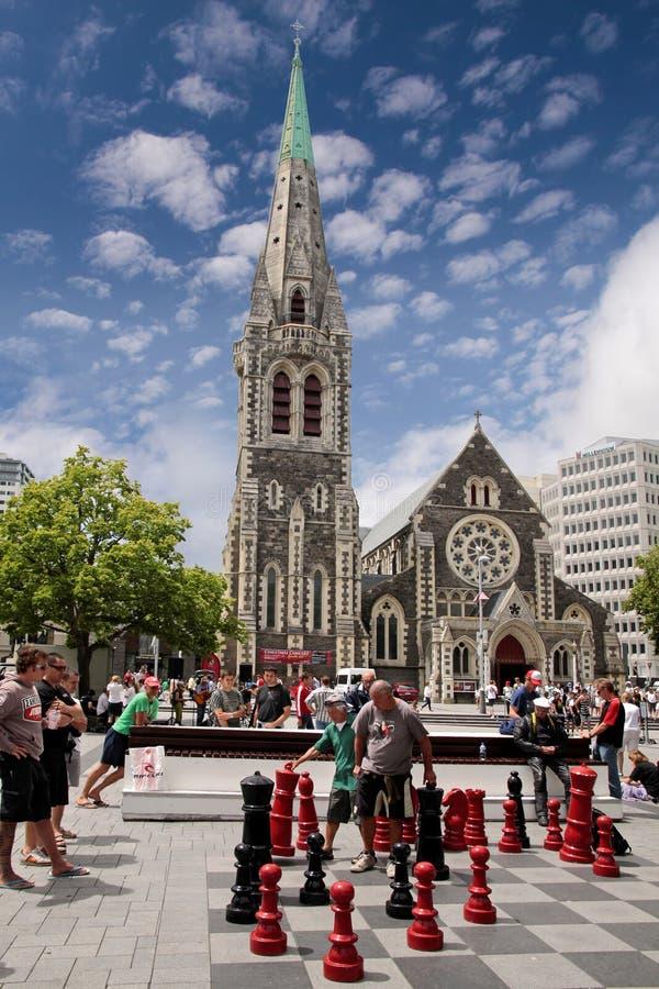 De Kathedraal van Christchurch vóór de schok van de Aarde stock foto's