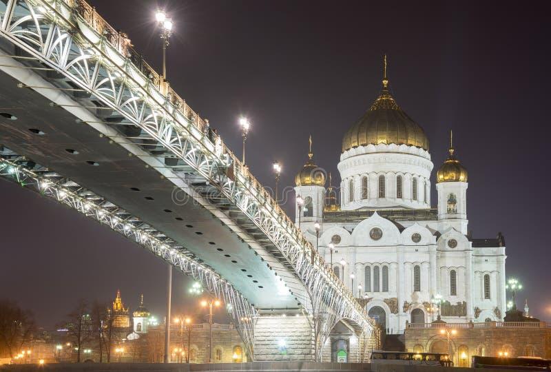 De Kathedraal van Christus de Verlosser bij nacht, Moskou, Rusland royalty-vrije stock afbeeldingen