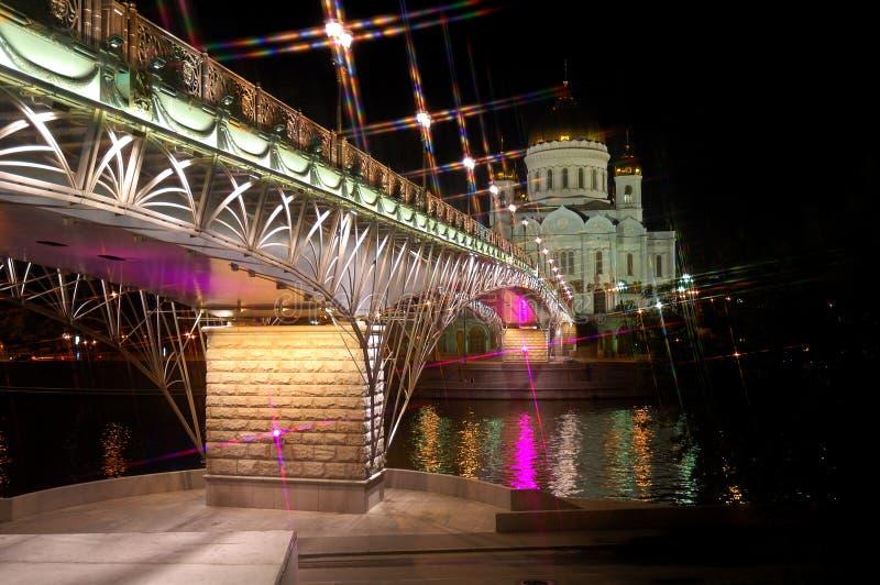 De Kathedraal van Christus de Verlossernacht Moskou Rusland stock fotografie