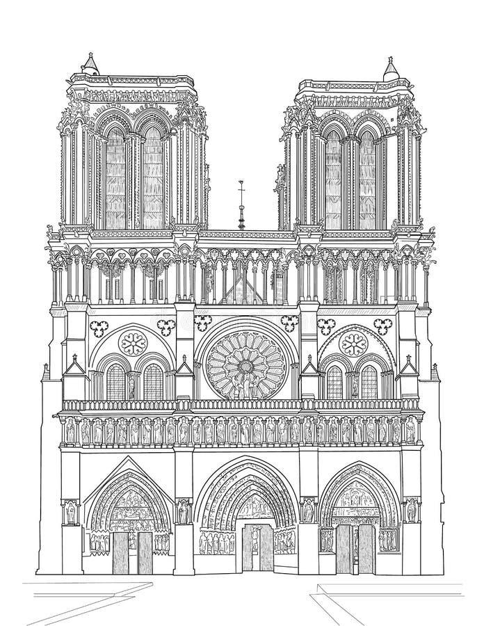 De kathedraal van de Notredame royalty-vrije illustratie