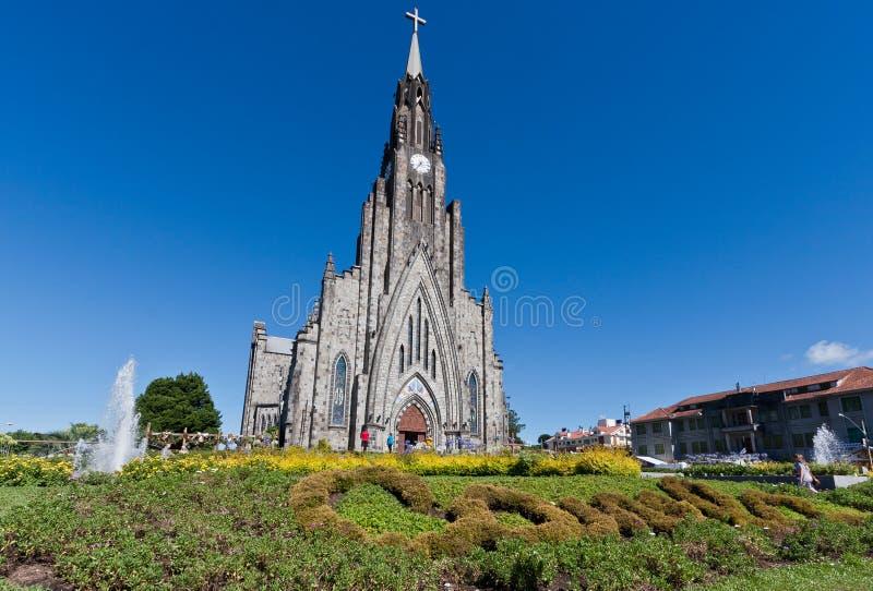 De Kathedraal van de steen van Canela Brazilië stock afbeelding