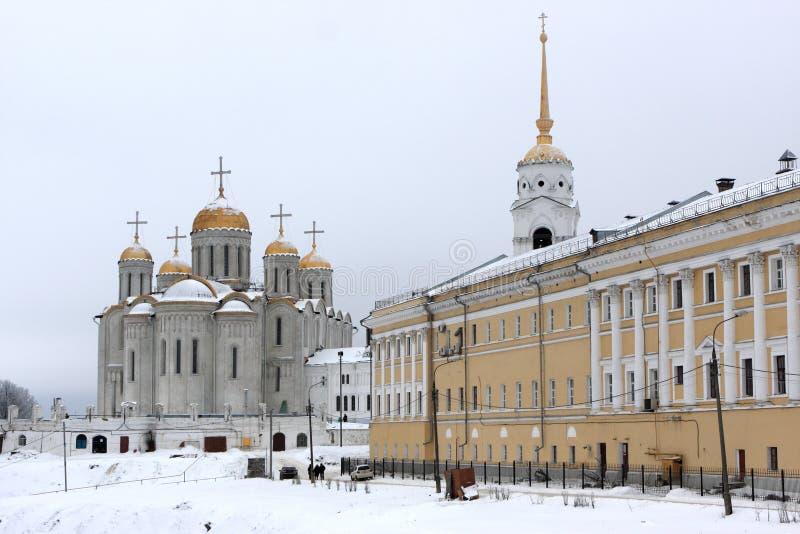 De Kathedraal van Dormition in de winter stock fotografie