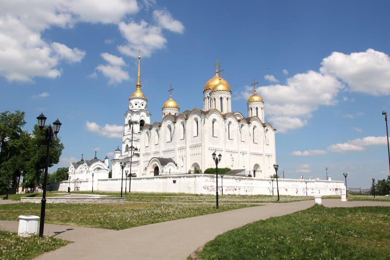 De Kathedraal van Dormition in Vladimir stock foto's