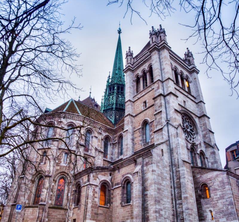 De Kathedraal van Genève (st-Pierre) stock foto's