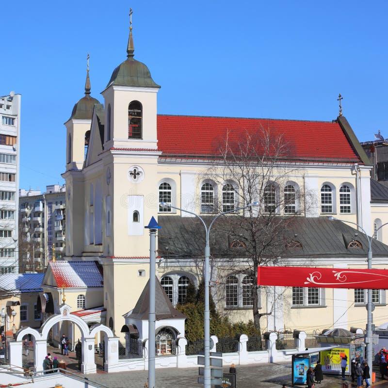 De Kathedraal van de Heilige Apostelen Peter en Paul Minsk? Wit-Rusland royalty-vrije stock foto's