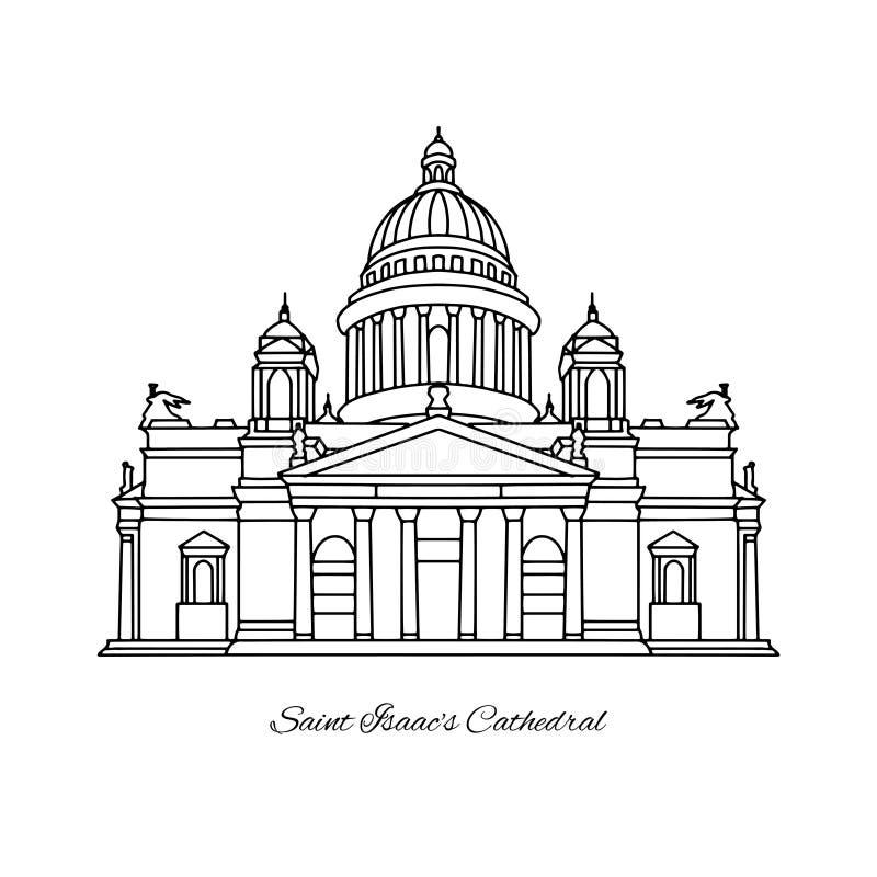 De Kathedraal van heilige Isaac ` s van het oriëntatiepunt van Heilige Petersburg, Rusland royalty-vrije illustratie