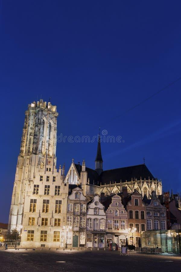 De Kathedraal van heilige Rumbold in Mechelen in België stock foto's