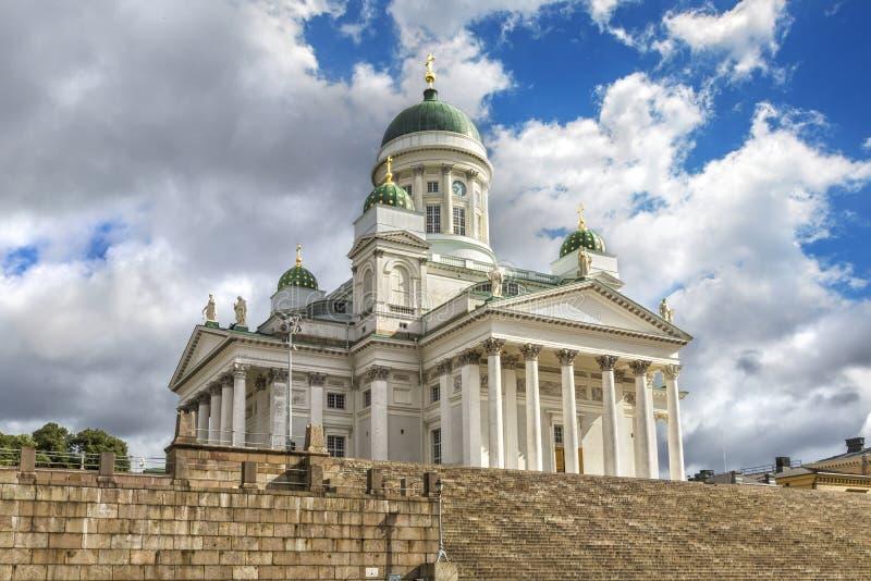 De Kathedraal van Helsinki als St Nicholas Church ook wordt bekend dat stock afbeeldingen