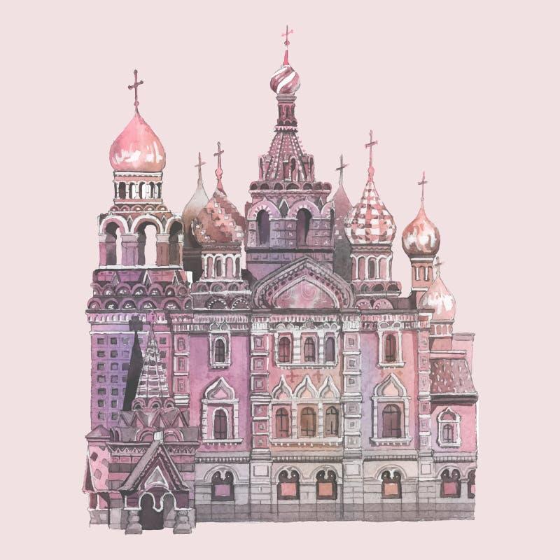 De Kathedraal van het Basilicum van heilige door waterverf wordt geschilderd die vector illustratie