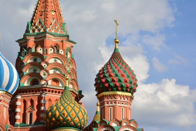 De Kathedraal van het Basilicum van Moskou, St, koepel, architectuur, detail, Rusland, symbool stock fotografie