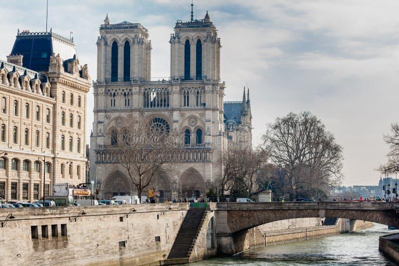De kathedraal van het Notre Dame de Paris stock foto