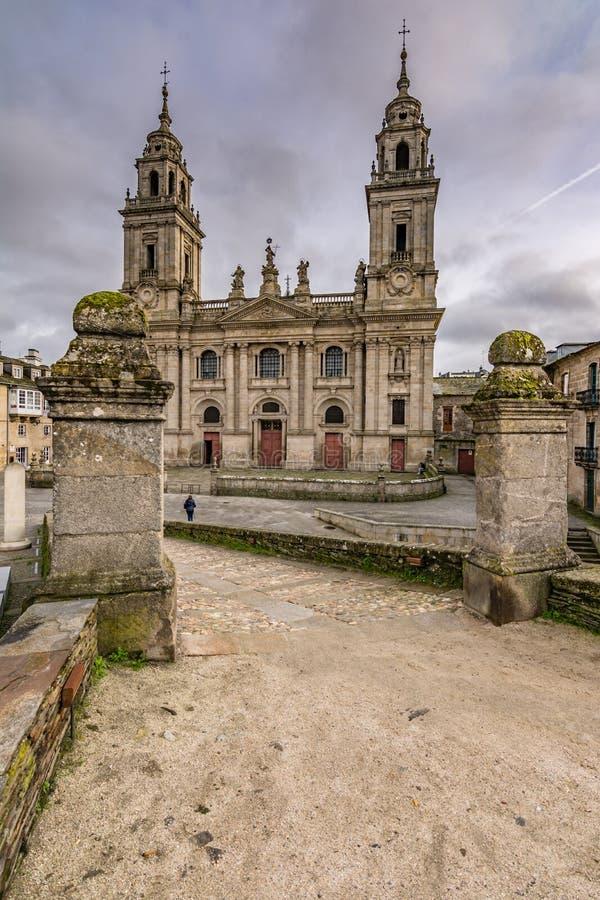 De Kathedraal van Kerstman MarÃa DE Lugo is een Rooms-katholieke, barokke, neoklassieke stijltempel in Galicië Spanje royalty-vrije stock afbeelding