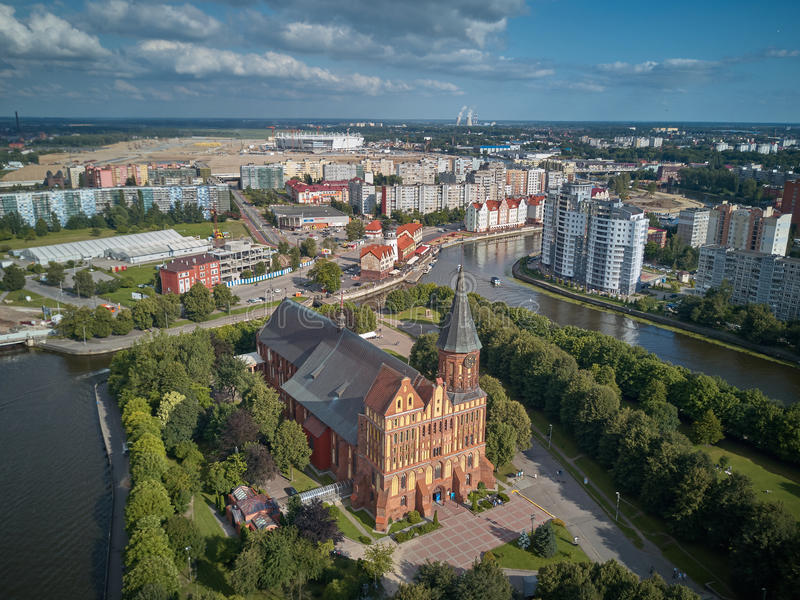 De Kathedraal van Konigsberg Kaliningrad, vroeger Koenigsberg, Rusland royalty-vrije stock afbeelding