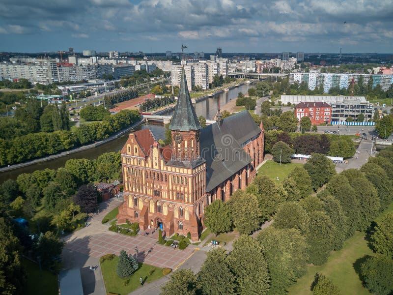 De Kathedraal van Konigsberg Kaliningrad, vroeger Koenigsberg, Rusland stock foto's