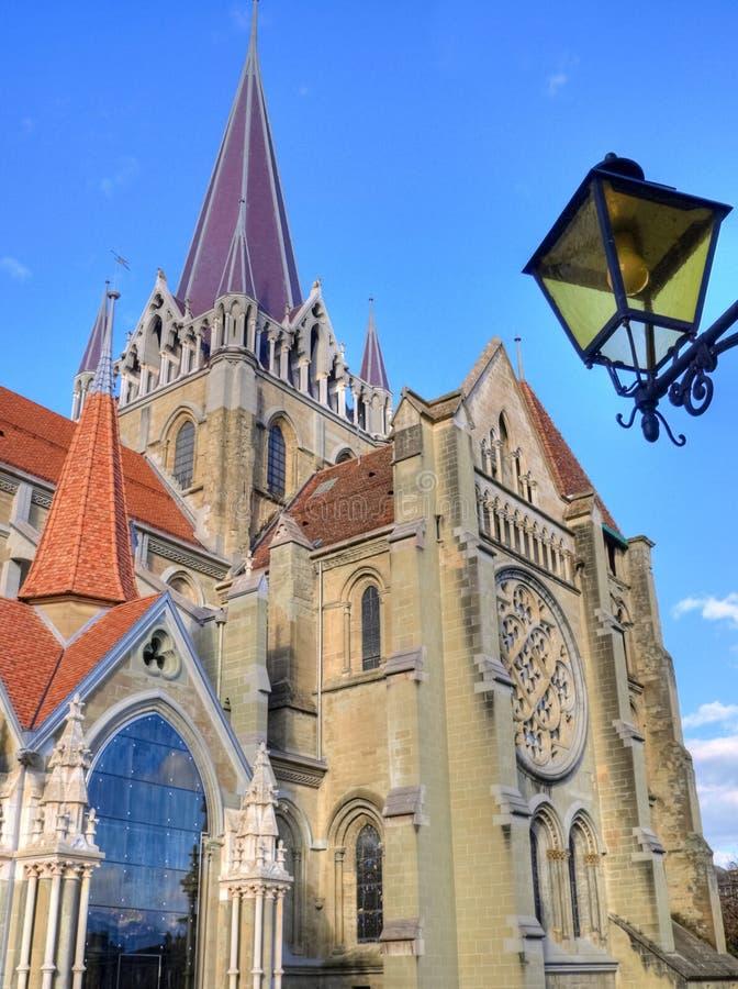 De Kathedraal van Lausanne, Zwitserland stock foto's