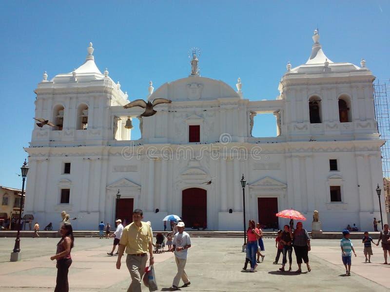 De Kathedraal van Leon stock afbeeldingen