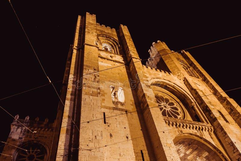 De kathedraal van Lissabon is de oudste en beroemde kerk van Lissabon Ook bekend als Se de Lisboa De mening van het perspectief v royalty-vrije stock foto