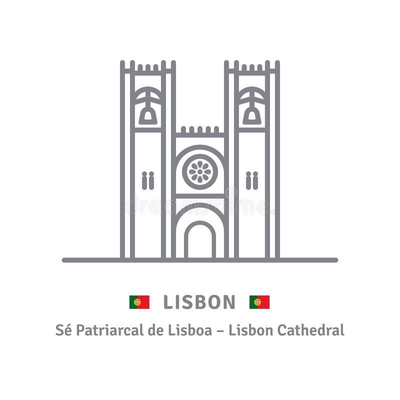 De Kathedraal van Lissabon, Portugal, lijnpictogram royalty-vrije illustratie