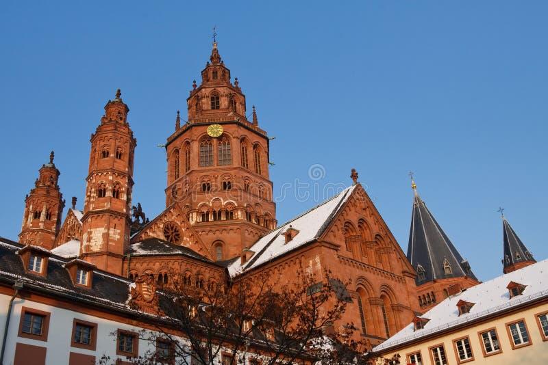 De Kathedraal van Mainz (Dom Mainzer) op de Dag van de Winter stock foto's